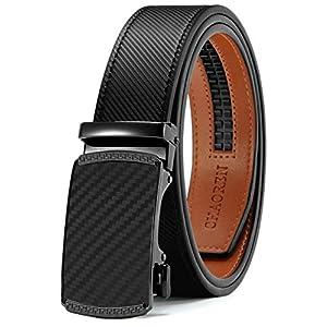 Mens Belt, Chaoren Ratchet Belt Dress with 1 3/8″ Genuine Leather, Slide Belt with Easier Adjustable Buckle, Trim to Fit