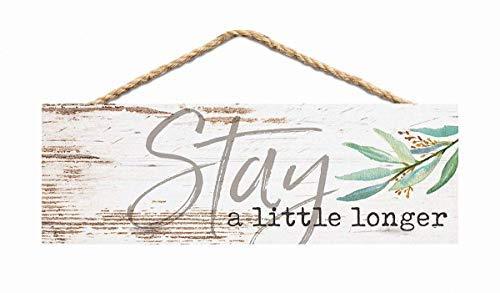 Brooer2ick Holzschilder mit englischer Aufschrift Stay Little Longer Greenery Whitewash für...