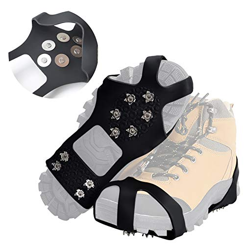 Doormoon Crampons Walk Cleats Traction 50 Spikes Anti Slip Ice Grips for Boots Shoes with for Snowing Hiking Fishing Walking Climbing Mountaineering