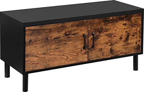 IN-HOMEXL | Flacher Schuhschrank, Standregal, Stauraum, höhenverstellbare Einlegeböden 38 x 100 x 35 cm | Schwarz/Braun