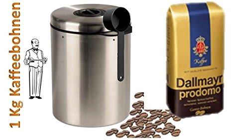 Dallmayr Prodomo Ganze Bohnen - 1 x 500 g + Edelstahldose für 1 kg Kaffeebohnen Neu mit Silicabag von Conny Clever® zur Erhaltung der Aromastoffe von James Premium®