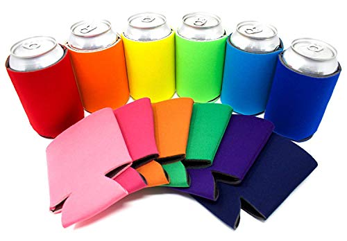 TahoeBay 12 Blank Beer Can Coolers, Plain Bulk Collapsible Soda Cover Coolies, DIY Personalized Sublimation Sleeves for Weddings, Bachelorette Parties, Funny HTV Party Favors (Multicolor, 12)