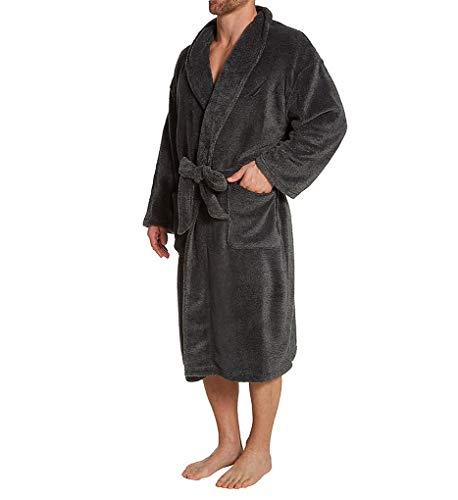Nautica Men's Marled Plush Knit Robe, True Black, One Size