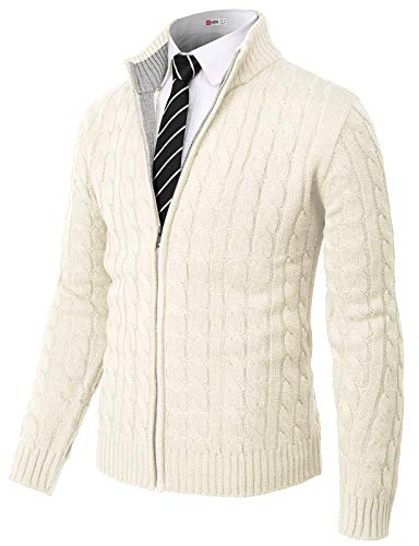 H2H Mens Casual Slim Fit Cardigan Sweater Cable Knitted Button Down Stand Collar White US L/Asia XL (CMOCAL036)