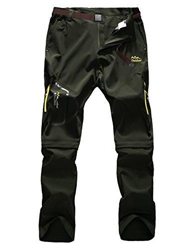 Echinodon Herren Outdoorhose Zipp Off Hose Schnelltrockende Trekkinghose Wanderhose Sommer Frühling Armeegrün Asien 5XL