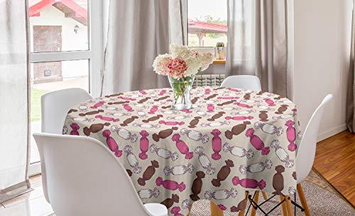 ABAKUHAUS Pastel Rond Tafelkleed, Snoepjes in Funny Tones Art, Decoratie voor Eetkamer Keuken, 150 cm, Roze Beige en Umber