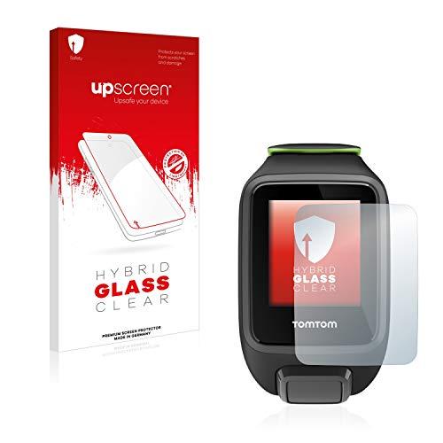 upscreen Hybrid Glass Panzerglas Schutzfolie kompatibel mit Tomtom Runner 3 Cardio/Music 9H Panzerglas-Folie