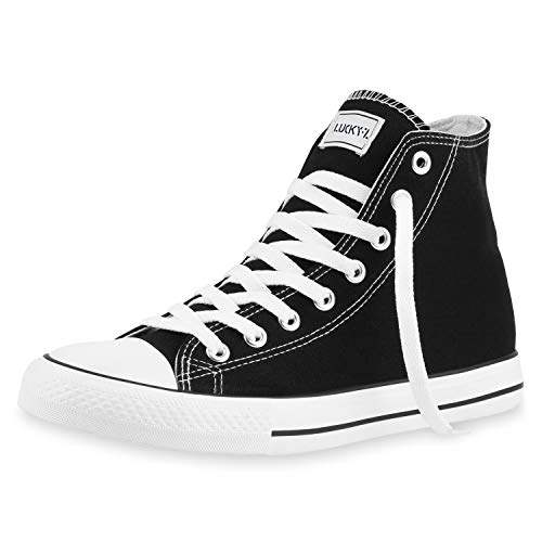 SCARPE VITA Herren High Top Sneakers Sportschuhe Stoffschuhe Freizeit Schuhe 165787 Schwarz Lucky 46