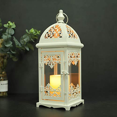 JHY DESIGN Laterne Deko Stalllaterne Metalllaterne Vintage Windlicht Hängend Garten Balkon Tischdekoration Outdoor Indoor 38 cm hohe(Sahne)