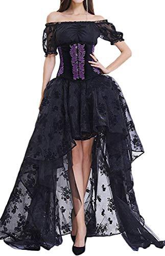Pandolah Halloween Sexy Lingerie Fashion Lace up Vintage Gothic Victorian Corset Bustier Prom Skirt (Black&Purple, US Size 2-4 (S))
