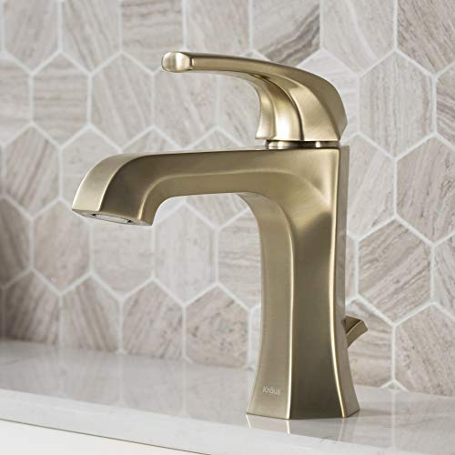 Kraus KBF-1211BG Esta Single Handle Basin Bathroom Faucet with Lift Rod Drain, Brushed Gold