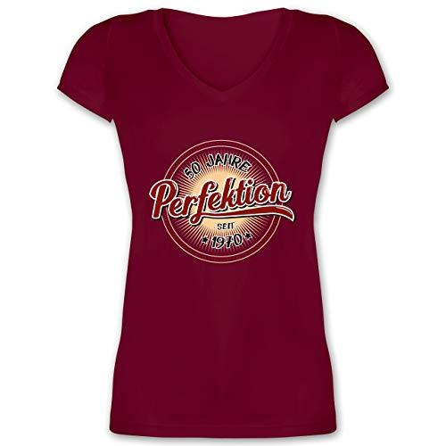 Geburtstag - 50 Jahre Perfektion seit 1970 - L - Bordeauxrot - 50 Jahre Perfektion - XO1525 - Damen T-Shirt mit V-Ausschnitt