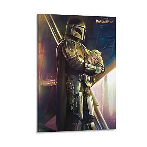 Ghychk Star Wars Mandalorian und Baby Yoda Leinwandgemälde, Wanddekoration für...