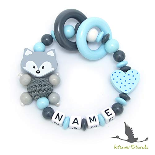 Baby Greifling Beißring geschlossen mit Namen - individuelles Holz Lernspielzeug als Geschenk zur Geburt Taufe - Jungen Motiv Fuchs und Herz in babyblau