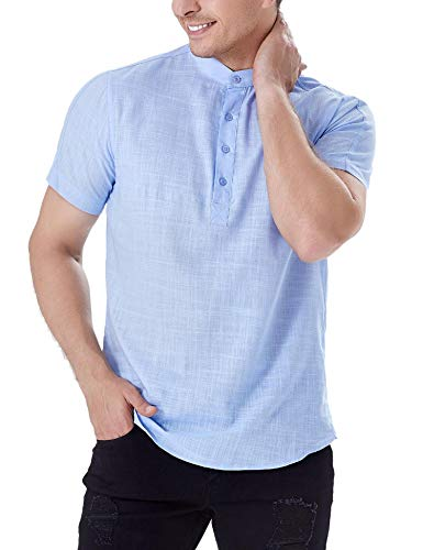 iClosam Camiseta para Hombre de Manga Corta Lisa con Botones
