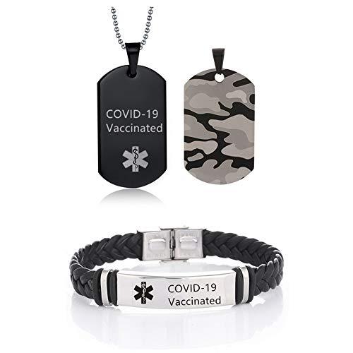 COVID-19 Juego de collares y pulseras de alerta médica para