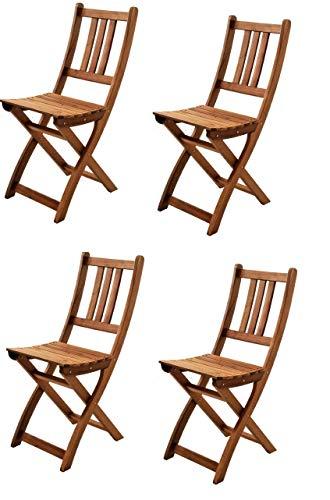 SAM® Set de 4 sillas Plegables de Madera de Acacia, Silla de jardín, Madera Maciza, Ideal para Balcones, terrazas o Jardines, Certificado FSC®