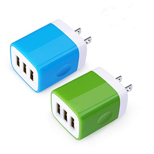 Price comparison product image USB Wall Charger, Sicodo 2-Pack Universal 3.1A Home Travel Quick Wall Plug Charger Cubes Compatible with iPhone 8, 7 Plus, 6s Plus, Tablet,  Samsung Galaxy S8 Plus,  S7 Edge,  HTC,  Nokia,  LG,  Sony and More