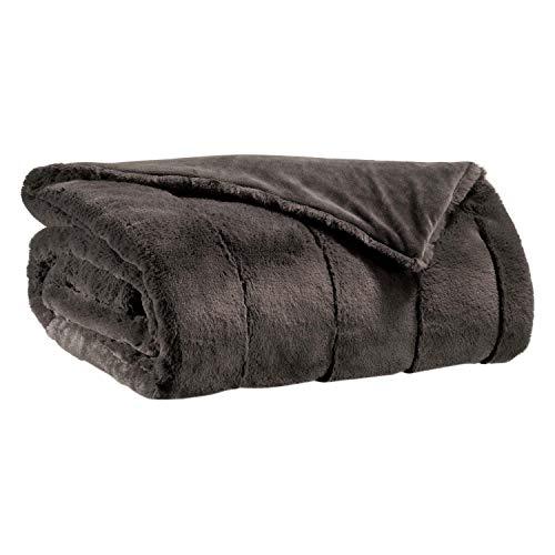 Vivaraise - Jeté de lit - Couvre-lit - Couverture lit - Drap lit - Jeté de lit décoration - 180 x 260-100% Polyester - Asphalte Gris - Asha