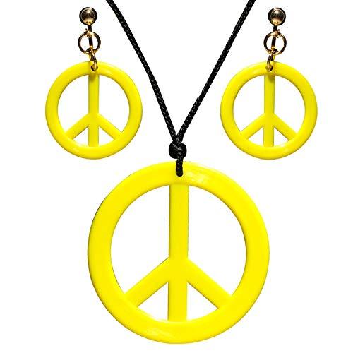 Widmann 53283 - Schmuckset Hippie, Halskette und Ohrringe, Gelb, Flower Power, Peace, Blumenmädchen, Kostüm, Mottoparty, Karneval