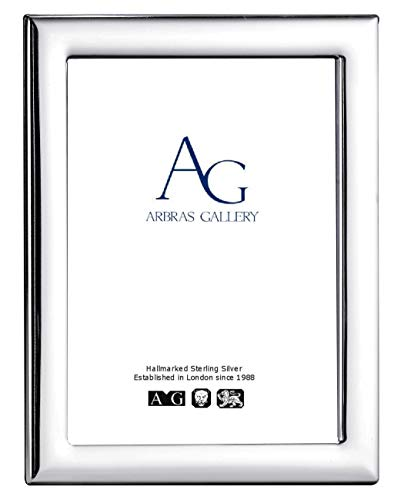 Arbras Gallery AG Sterling Silver Plain Frame for photograph 6'x 4' with Wood Back can stand portrait or landscape