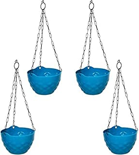 MB TRADERS Diamond Hanging Pot (Blue) Plant Container (Plastic, External Height - 46 cm)