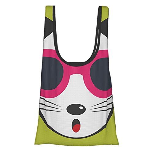 Animal Decor Lindo Gatito con Gafas de Sol Rosa Fresco Moderno Hipster Gato Moda Divertido Mascotas Arte Impresión Multi Reutilizable Plegable Favorable Bolsas de Compras