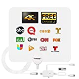 TV Antenna, 2021 Indoor Digital TV Antenna with Amplifier Signal Booster - 180 Miles Range, HD Antenna Support 4K 1080P Local Channels - 16.5 Ft Coax Cable (White)