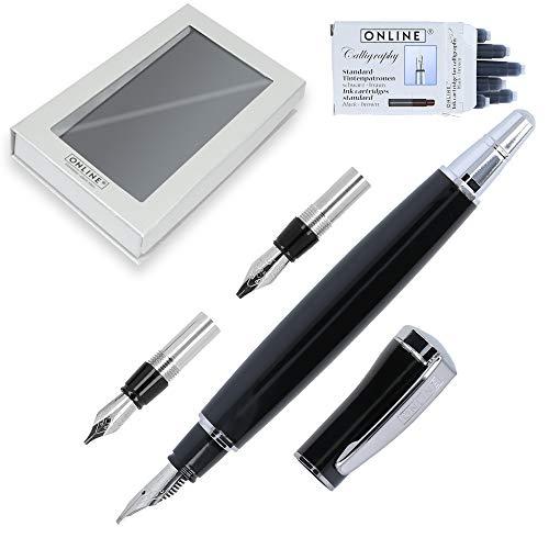 Online Kalligraphie-Set Tango, schwarzer Design Metall-Füllhalter, Kalligrafie-Federn in 3 Strichstärken 1,1-mm, 1,5-mm, 1,9-mm, inkl. Calligraphy-Tintenpatronen, Geschenk-Set mit Etui