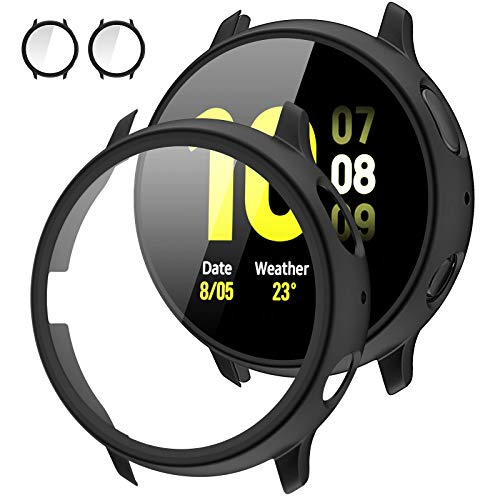 [2Pack] Tensea Compatible with Samsung Galaxy Watch Active 2 Screen Protector Case 44mm, Bumper Full Around Cover for Samsung Galaxy Watch Active2 44 (Matte Black, 44mm)