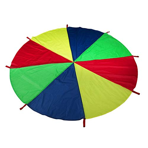 N\A Garden umbrellas Sun Shade for Garden Play Parachute Tent Mat Cooperative Games Kids Parachute Toy with Handles Birthday Gift Patio Parasol (Color : L)