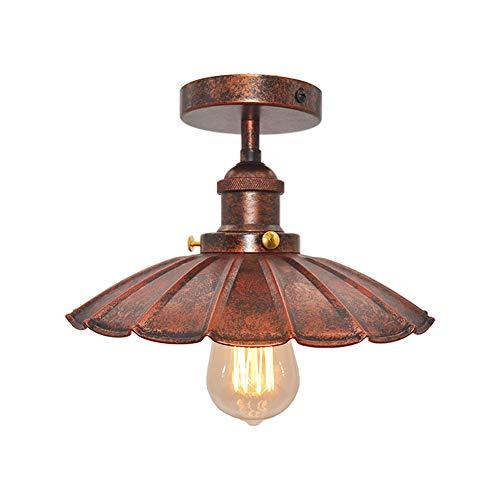 Huahan Haituo Decke Licht Modern Vintage Industrial Metal Schwarz Bronze Loft Bar lichten Schatten Retro Pendelleuchte Deckenleuchte (StyleB, Rost)