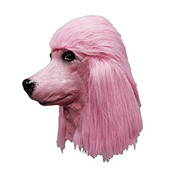 Poodle Head Dog Mask Adult Realistic Animal Latex Halloween Cosplay Props Party  Pink