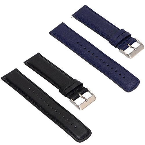 Set of 2 Replacement Leather Bands Compatible with Fossil Q Founder Gen 2 Touchscreen Smartwatch (Black+Blue)