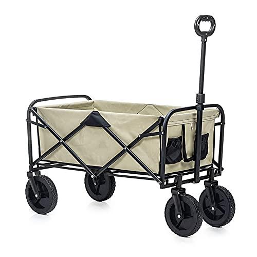 JLFFYJ Faltbarer Bollerwagen, Zusammenklappbarer Schwerlast-Mehrzweckwagen, Outdoor Camping Gartenwagen, 176 LBS Kapazität All Terrain Utility Beach Wagon Cart 105x52x102cm Khaki