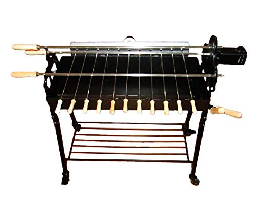Tritogenia New Supreme Cyprus Charcoal Grill, Foukou, One Multispeed 0-65RPM, One 6RPM Rotisserie Motors, and Adjustable Height Stainless Steel Wire Grate, and Bottom Rack