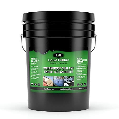 Liquid Rubber Waterproof Sealant - Indoor & Outdoor Coating - Easy to Apply - Water Based - Original Black, 5 Gallon