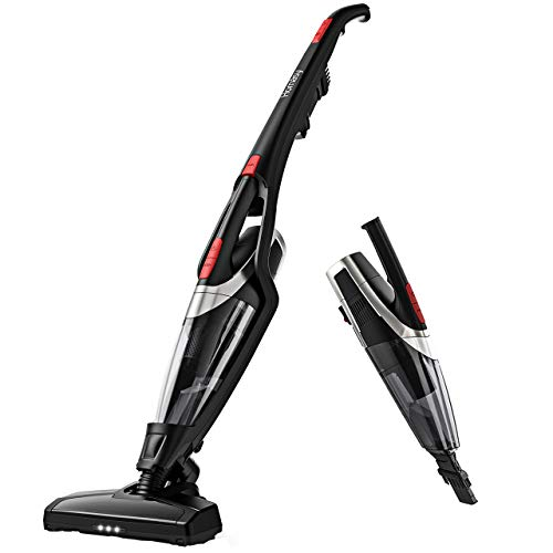 Homasy Cordless Vacuum Cleaner, 2-in-1 Stick and Handheld Vacuum Cleaner with Super Strong Suction, Lightweight Bagless Vacuum LED Headlights for Carpet, Hard Floor, Car and Pet