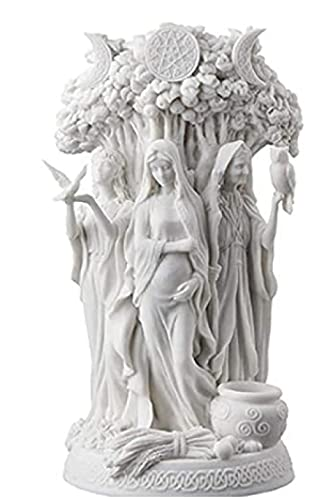 Triple Goddess Sculpture, Resin Celtic Sacred Moon, Triple Goddess Mother's Mother's Life Tree Statue Decoration Decoration