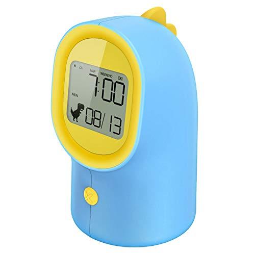Neaer Reloj despertador inteligente con pantalla LED de dinosaurio para niños con luz nocturna multifuncional LED despertador (color: azul claro)