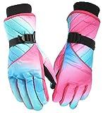 RICHEN Ski Gloves,Winter Windproof Snowboard Snow 3M Thinsulate Warm, Cold Weather Women Gloves Wrist Band for Outdoor Sports Travel Snowmobile Gloves (Women, Bluepink)