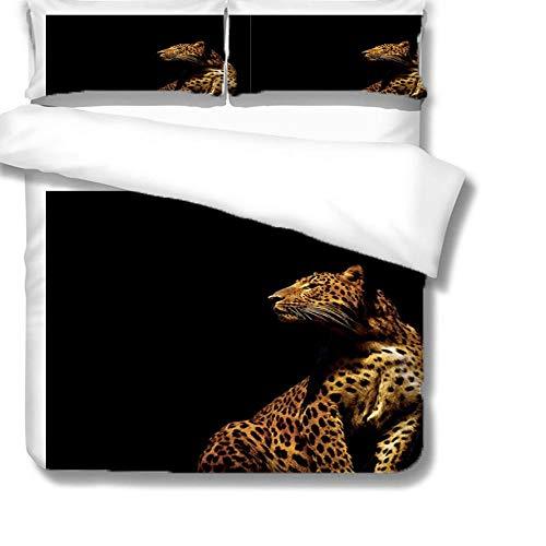 Funda Nordica Cama Guepardo Animal Funda Edredón 260 x 240 cm Microfibr con 2 Fundas de Almohada 50x75cm para Cama de Matrimonio, 3 Piezas con Estampado, Muy Suave