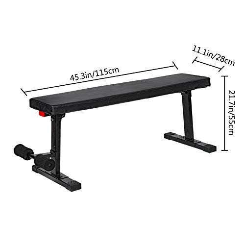 【3-7 Days Delivery】Flat Utility 600Lbs Foldable Capacity Weight Bench, 45'' Flat Bench Workout Utility Bench Capacity Sit Up Bench Weight Training and Abdominal Training Folding Bench Price Cut $8 (A)