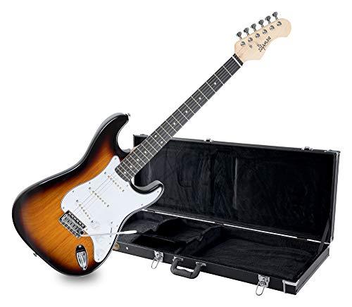 Shaman Element Series STX-100VS Koffer Set - Hochwertige E-Gitarre im ST Style mit 3 Single Coil Pickups & Cutaway inkl. Koffer - Vintage Sunburst