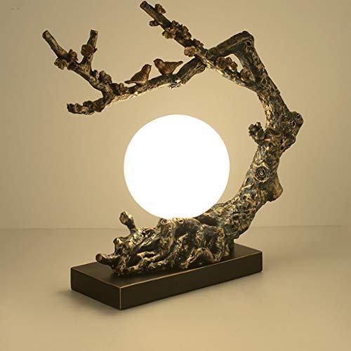 Lámpara de Escritorio Estilo Nuevo chino de la lámpara de la personalidad creativa de Zen Salón Dormitorio Estudio retro de la flor y el pájaro Decoración china del viento Lámpara de Noche Decorativa