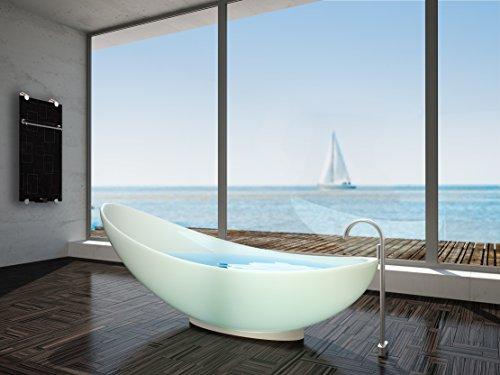 Infrarotheizung Badheizung IBP 550 Inklusive Handtuchhalter & Thermostat mit Fernbedienung Motiv Quadrate Badheizkörper