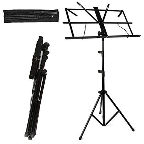 MultiWare Notenständer Notenpult Orchesterpult Höheverstellbar 50 – 124 cm mit Tasche Metallständer Stativ Schwarz mit Wasserdicht Tragetasche