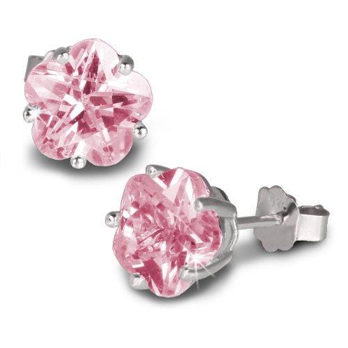 SilberDream SDO738A - Orecchini da donna a forma di fiore con zirconi rosa, in argento Sterling 925