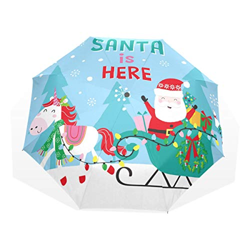 Regenschirm mit Weihnachtsmotiv und Schlitten, dreifach faltbar, winddicht