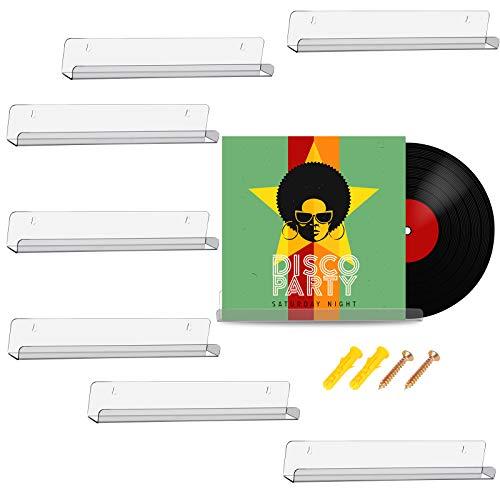 Vinyl Schallplatten Regal Wand Schallplatten Rahmen Display Regal Acryl Wandregal für Schallplatten Sammlung und Dekoration (Klar)
